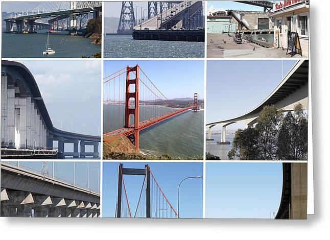 Majestic Bridges Of The San Francisco Bay Area Greeting Card by Wingsdomain Art and Photography