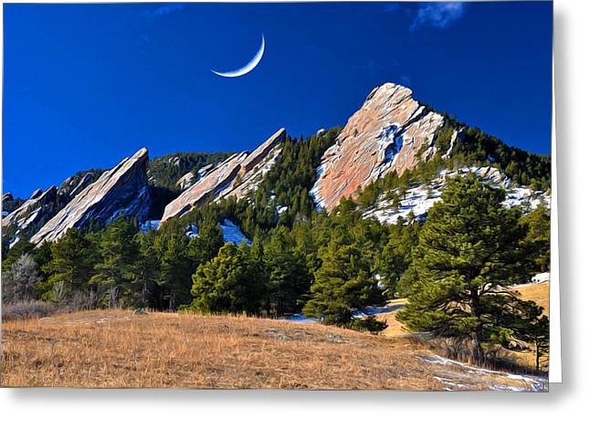 Majestic Flatirons Of Boulder Colorado Greeting Card by John Hoffman
