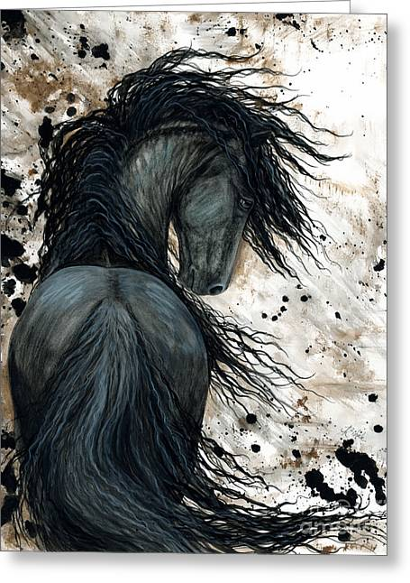 Majestic Friesian Horse 123 Greeting Card by AmyLyn Bihrle