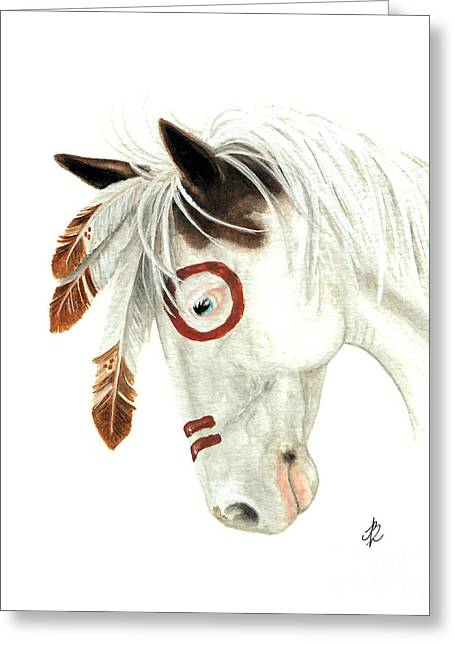 Majestic Horse Medicine Hat 41 Greeting Card