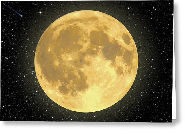 Majestic Moon Greeting Card by Dave Lee