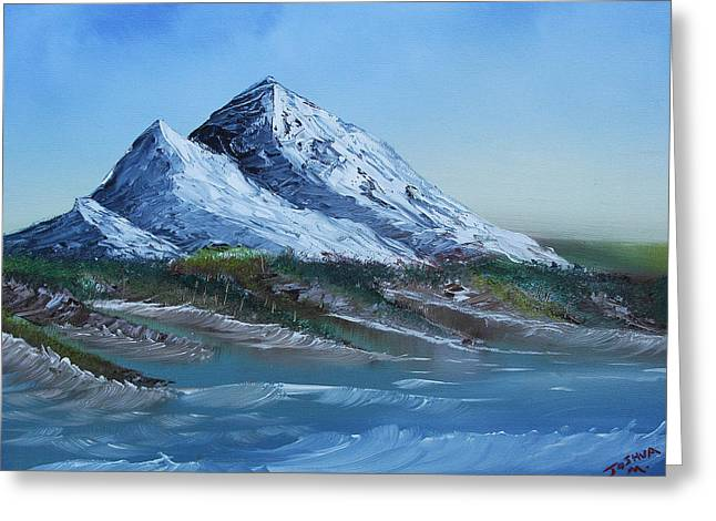 Greeting Card featuring the painting Majestic Peaks by Jennifer Muller