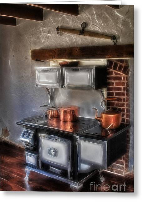 Majestic Stove Greeting Card by Susan Candelario