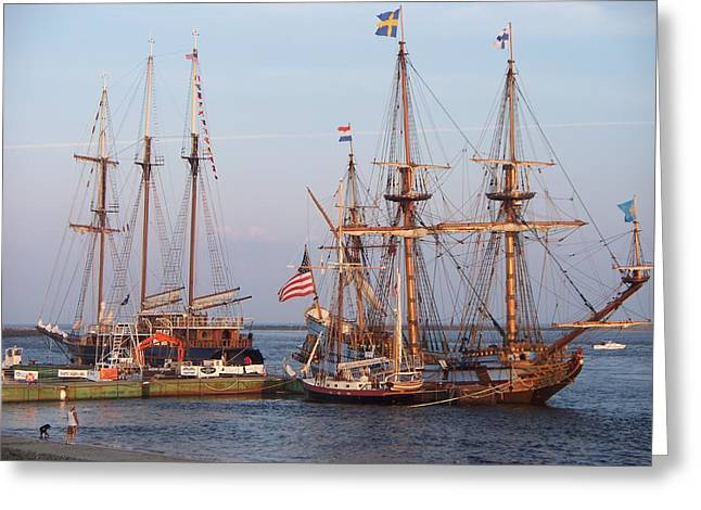 Majestic Tall Ships Greeting Card by Rosanne Bartlett