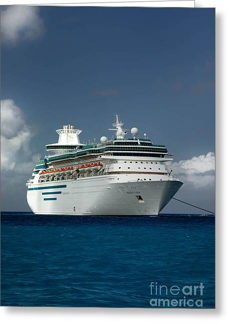 Majesty Of The Seas At Coco Cay Greeting Card by Amy Cicconi