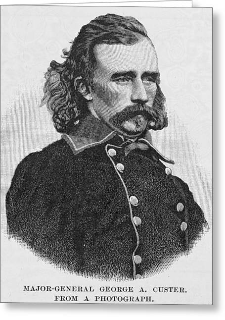 Major General George Armstrong Custer, Engraved From A Photograph, Illustration From Battles Greeting Card