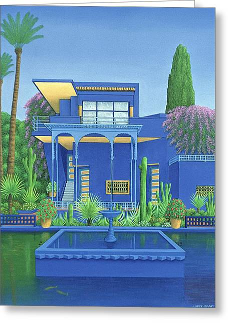 Majorelle Gardens, Marrakech, 1996 Carylic On Linen See 186509 Greeting Card by Larry Smart