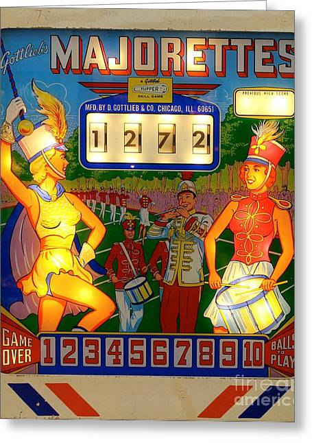 Majorettes Pinball Greeting Card by Bobby Cole