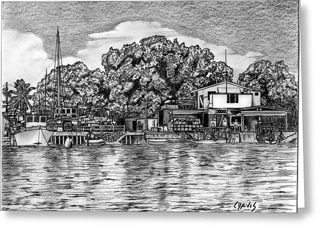 Greeting Card featuring the drawing Majuro Harbor by Lew Davis