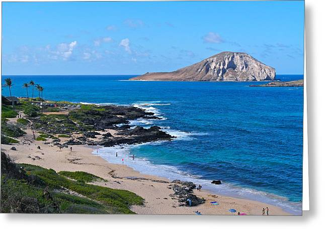 Makapuu Beach With Rabbit Island Greeting Card by Michele Myers