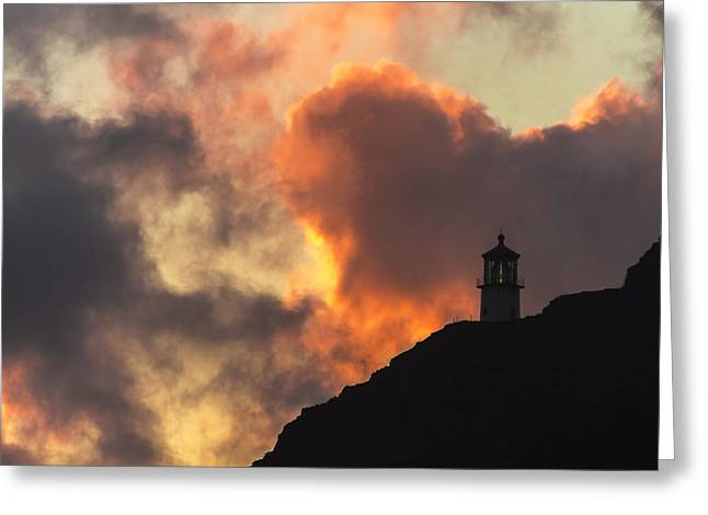 Greeting Card featuring the photograph Makapuu Lighthouse Sunrise 1 by Leigh Anne Meeks