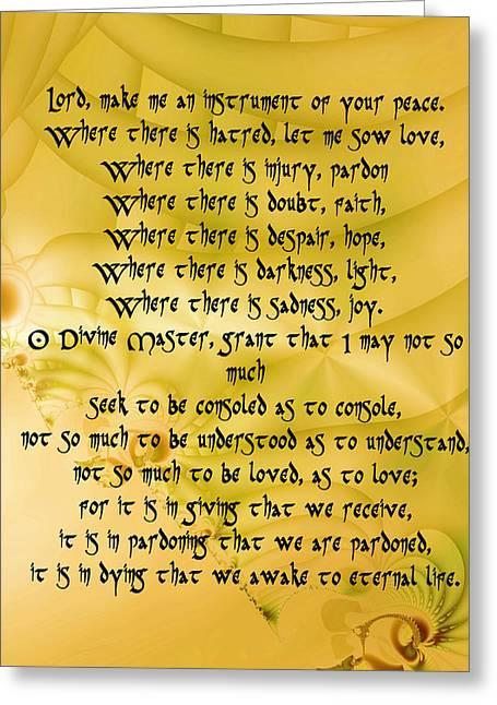 Make Me An Instrument Of Your Peace Greeting Card by Sir Josef - Social Critic -  Maha Art