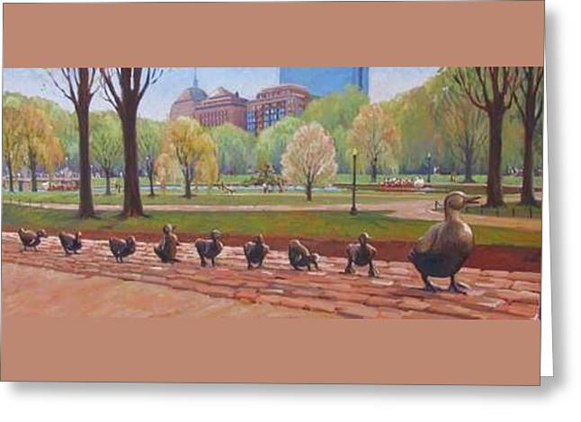 Make Way For Ducklings Greeting Card by Dianne Panarelli Miller
