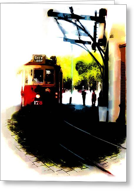 Make Way For The Tram  Greeting Card by Steve Taylor