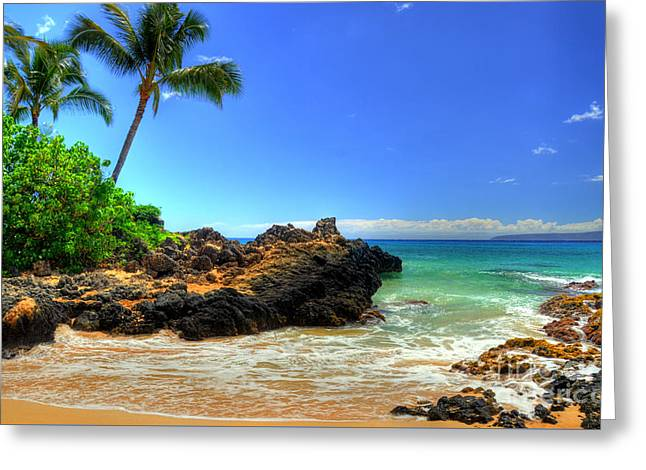 Makena Secret Cove Paako Beach Greeting Card by Kelly Wade
