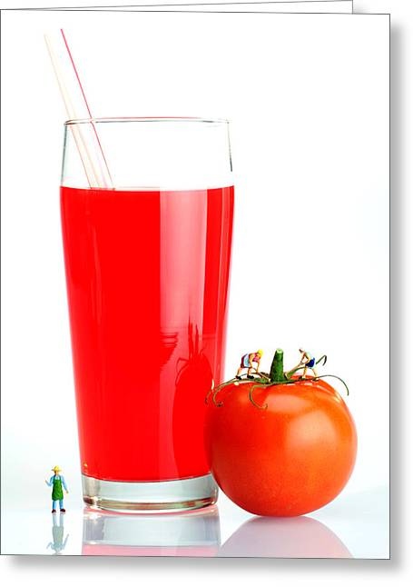 Making A Cup Of Tomato Juice Miniature Art Greeting Card by Paul Ge