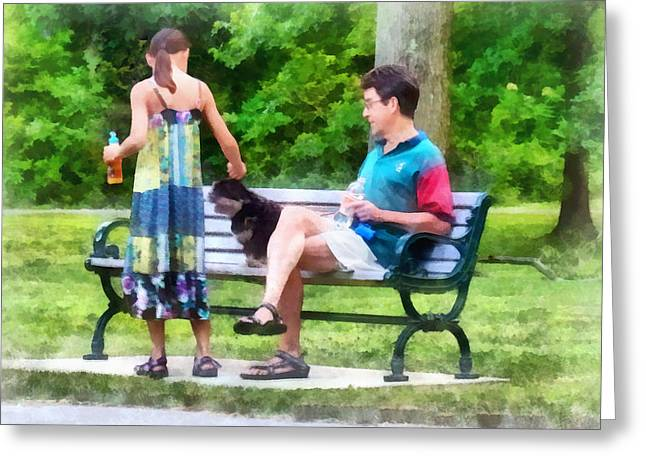 Making A New Friend In The Park Greeting Card by Susan Savad