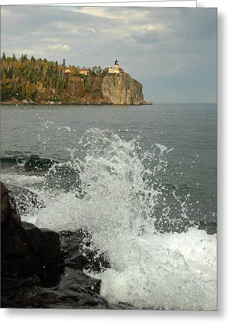 Greeting Card featuring the photograph Making A Splash At Split Rock Lighthouse  by James Peterson