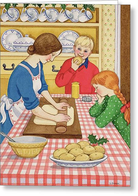 Making Mince Pies Wc On Paper Greeting Card by Lavinia Hamer