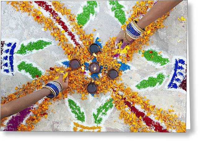 Making Rangoli With Flower Petals And Oil Lamps Greeting Card