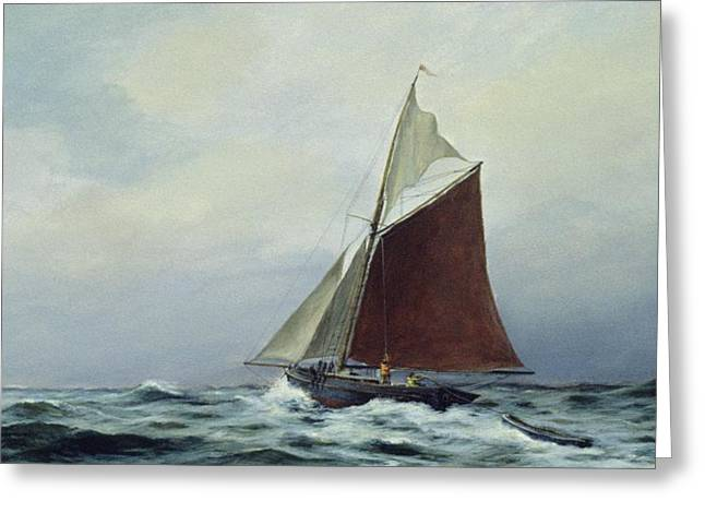 Making Sail After A Blow Greeting Card by Vic Trevett