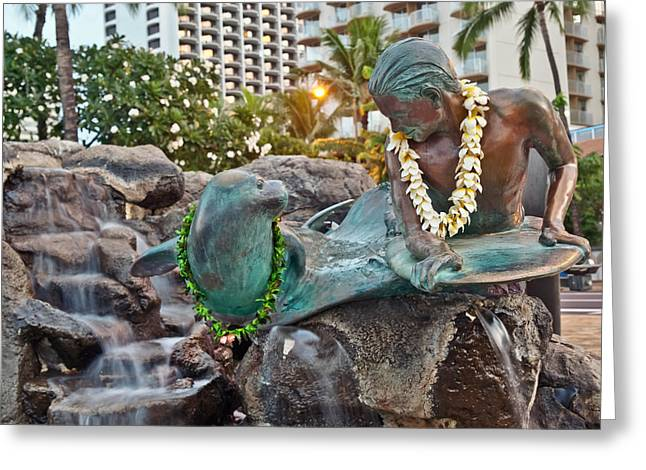 Makua  Kila Statue In Waikiki Oahu Island Hawaii Greeting Card by Marek Poplawski