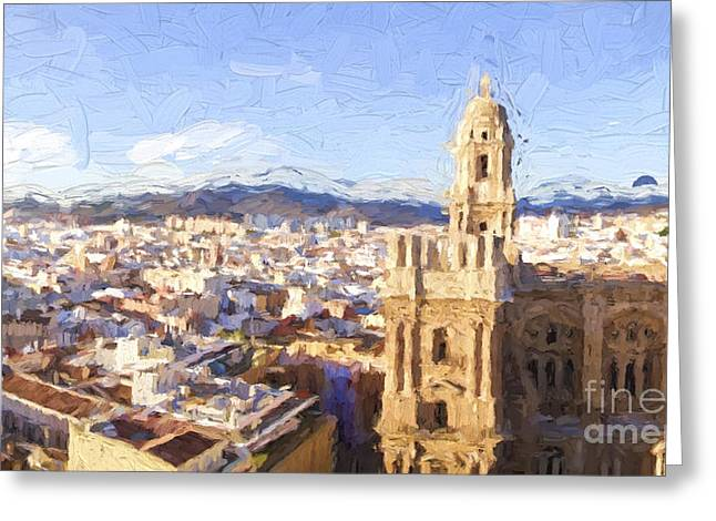 Malaga City With Cathedral Greeting Card by Perry Van Munster