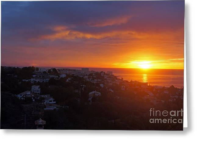 Malaga Sunrise Greeting Card by Rod Jones