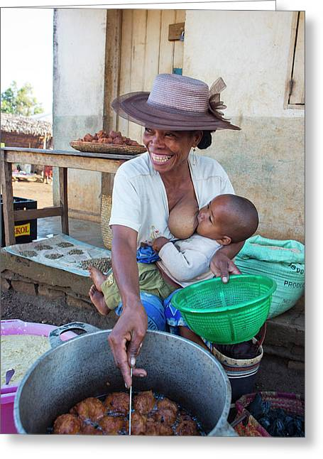 Malagasy Mother Selling A Streetfood Greeting Card by Diana Mrazikova/ Vwpics