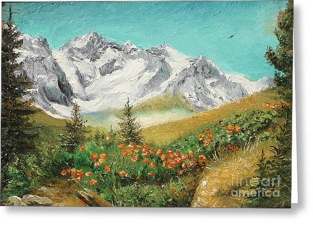 Greeting Card featuring the painting Malaiesti by Sorin Apostolescu