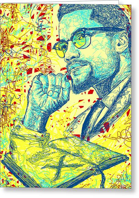 Malcolm X Drawing In Lines Greeting Card by Pierre Louis
