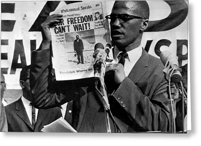 Malcolm X Speaks Greeting Card by Underwood Archives
