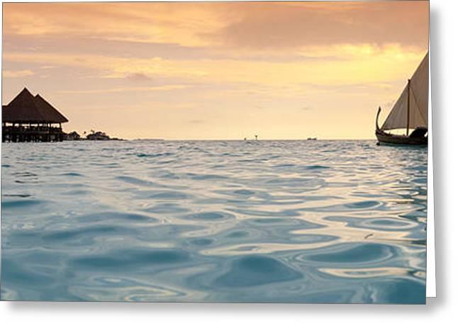 Maldivian Dhoni Sunset Greeting Card by Sean Davey