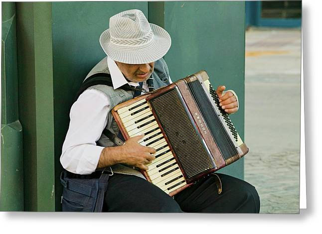 Male Accordion Player In Town Center Greeting Card