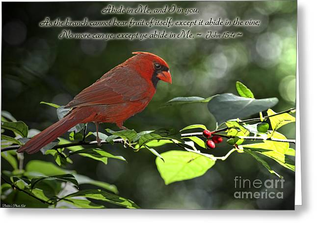 Male Cardinal On Dogwood Branch With Verse Greeting Card