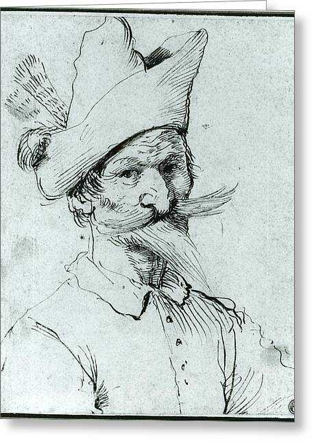 Male Caricature Greeting Card by Follower of Guercino