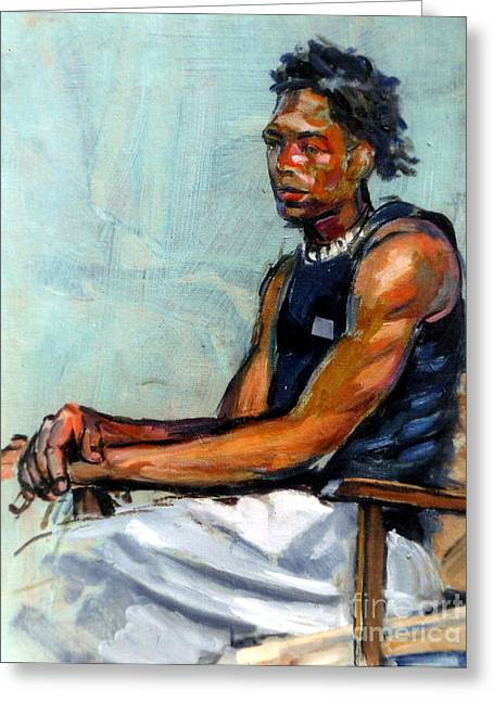 Male Figure Sitting Greeting Card by Stan Esson