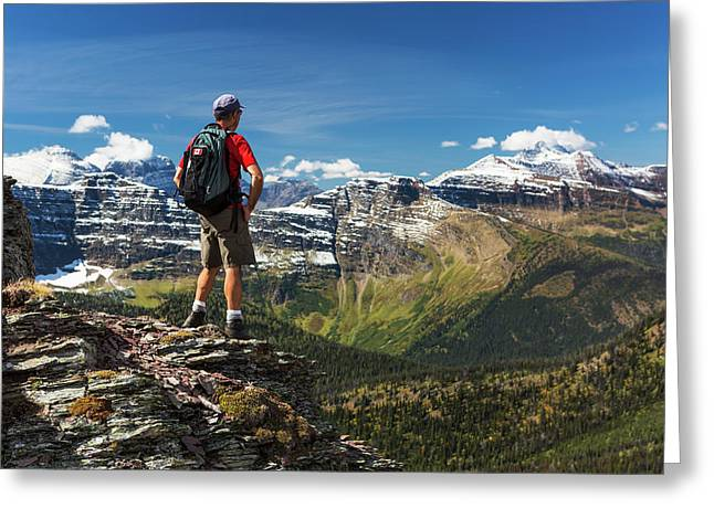 Male Hiker Standing On Top Of Mountain Greeting Card by Michael Interisano
