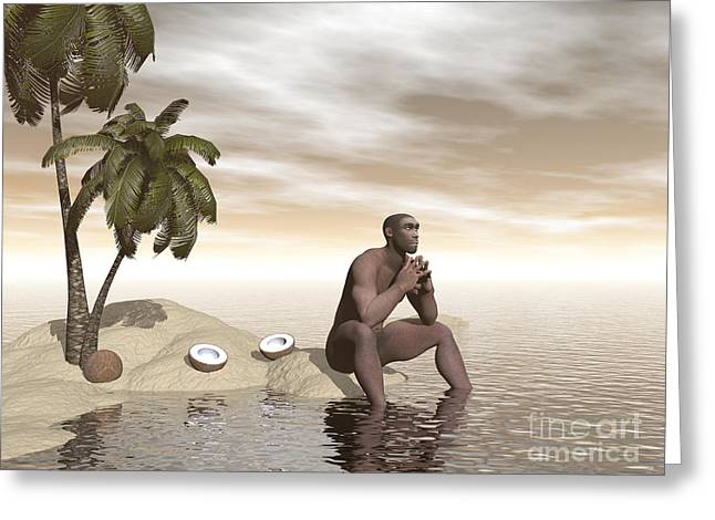Male Homo Erectus Sitting Alone Greeting Card