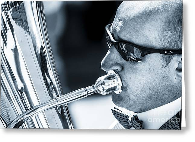 Male In Sunglasses Blowing Mouthpiece Of Tuba Greeting Card