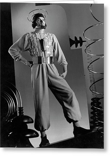 Male Model Wearing Futuristic Gray Jumpsuit Greeting Card by Anton Bruehl