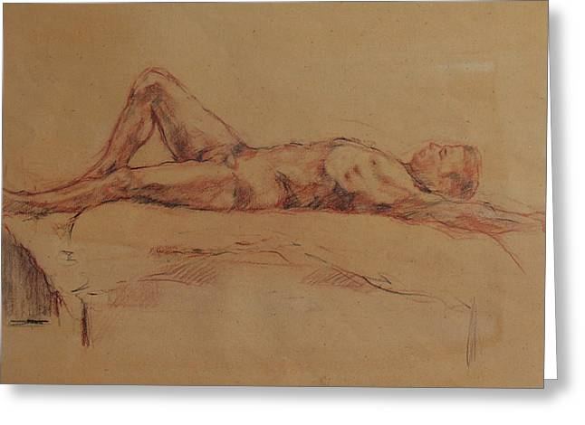 Male Nude 3 Greeting Card by Becky Kim