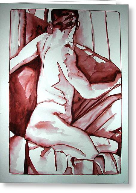 Male Nude Greeting Card by Rebecca Tacosa Gray