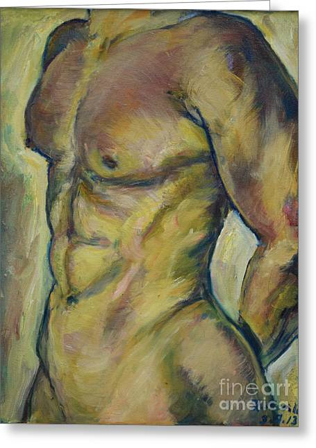 Nude Male Torso Greeting Card