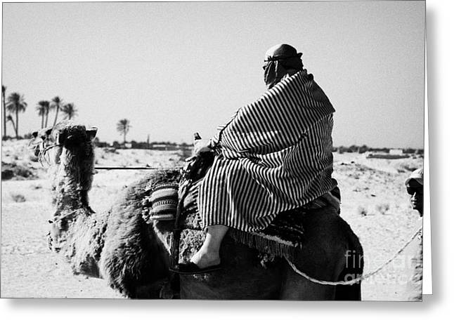 male tourist in desert clothing being led on the back of a camel into the sahara desert at Douz Tunisia Greeting Card by Joe Fox