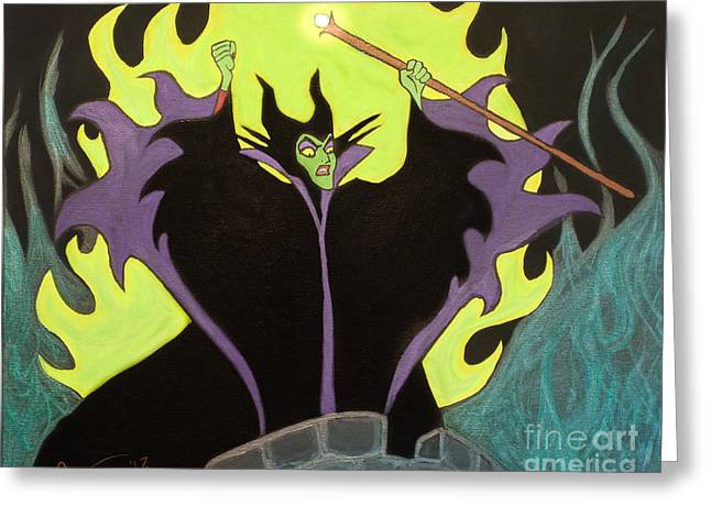Maleficent Greeting Card by Casey Tovey