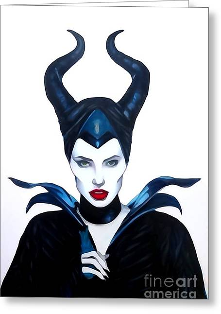 Maleficent Watercolor Greeting Card by Justin Moore