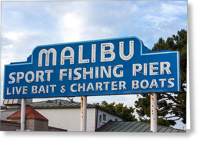 Malibu Pier Sign Greeting Card by Art Block Collections