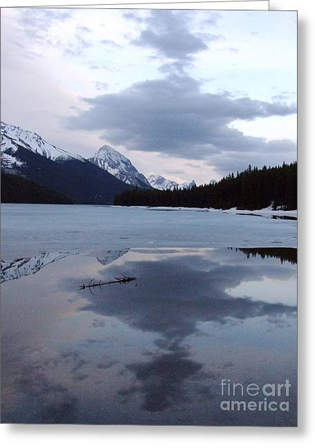 Greeting Card featuring the photograph Maligne Lake - Reflections by Phil Banks