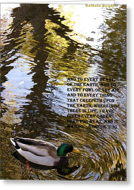 Mallard Duck With Scriptures Greeting Card
